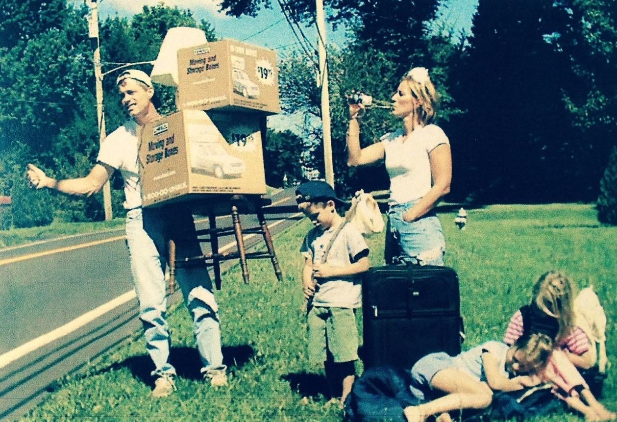 Jordan's family moving announcement postcard, circa 2001
