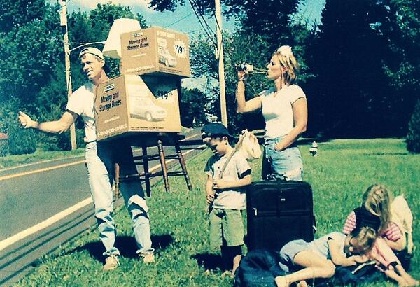 Jordan's family moving announcement postcard, circa 2001