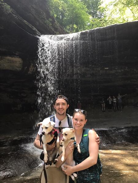 Jordan and boyfriend Andrew take their dogs on a hike at Starved Rock.